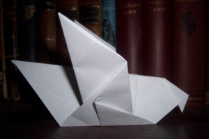 A rejection letter folded into an origami pigeon