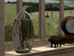 an image of an ecosphere on an off-white windowsill, with a rhino statue and clock off to the side