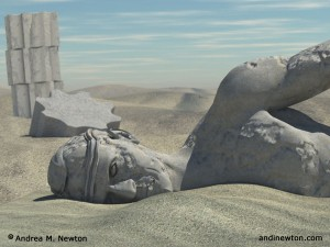 a worn, eroded statue of a man, on its side in a sandy desert with broken columns behind it