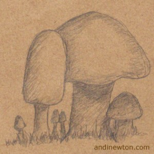 a pencil sketch on brown paper of six mushrooms, two large ones in the middle and smaller ones underneath and around them