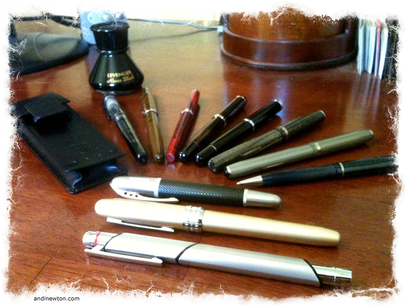 An ink bottle, a pen case, and eleven different pens spread out on a desk
