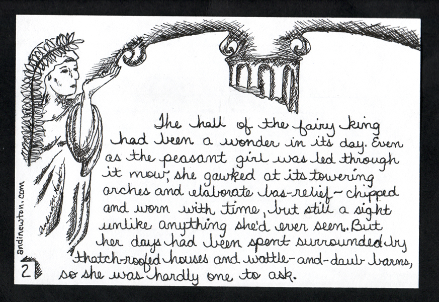 A robed woman with a frond behind her holds one end of an arch in her hand. A broken column decends from the middle above the story text.
